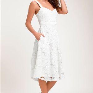 NWT divine beauty white lace midi